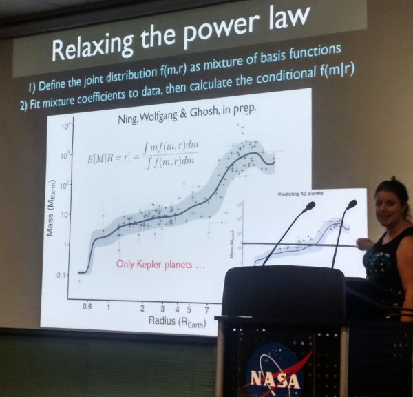 Angie Wolfgang presents a non-parametric mass-radius relationship developed in collaboration with statisticans from the Statistical & Applied Mathematical Sciences Institute.